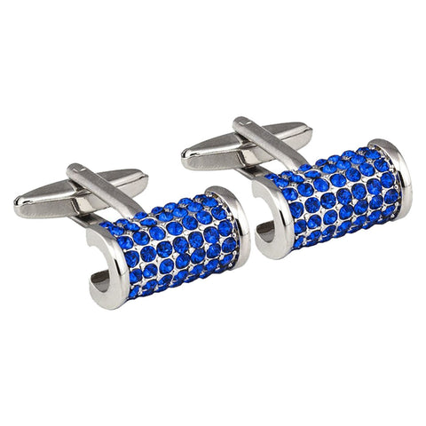 Cylindrical Blue Crystal Cufflinks