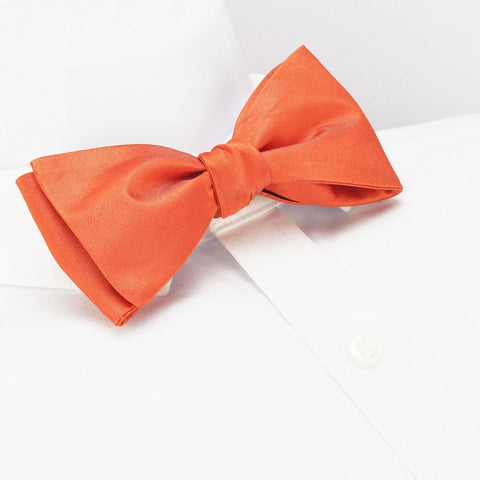 Self-Tie Plain Orange Silk Bow Tie