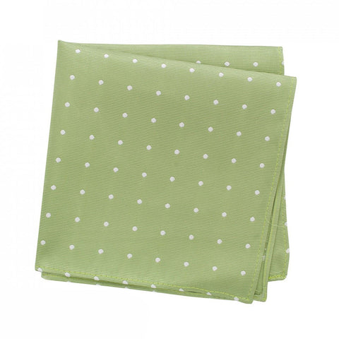 Pale Green Polka Dot Woven Silk Handkerchief