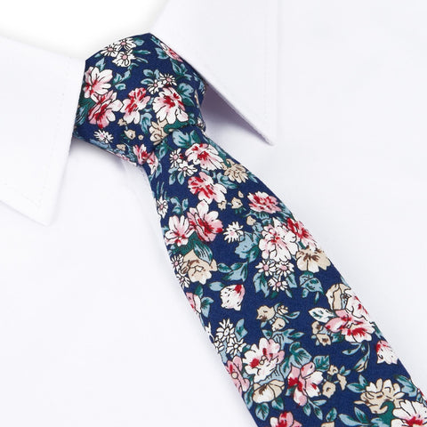 Blue Printed Floral Cotton Slim Tie