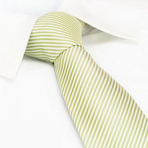 Pastel Green & White Thin Stripe Silk Tie