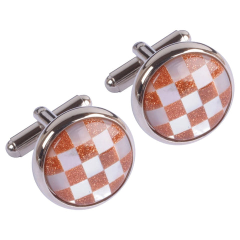 Mother of Pearl Orange Chequered Circles  Cufflinks