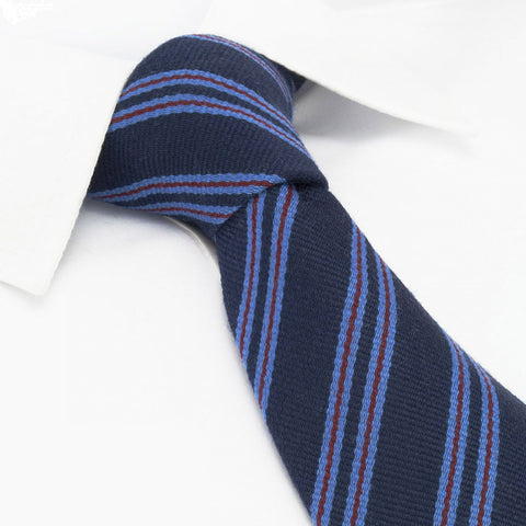 Navy Club Stripe Wool Mix Tie