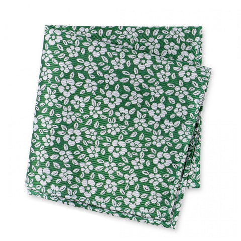 Green & White Daisy Chain Floral Silk Handkerchief