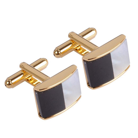 Gold plated Black & Mother of Pearl Stone Cufflink