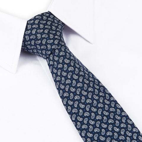 Navy Mini Paisley Printed Cotton Slim Tie