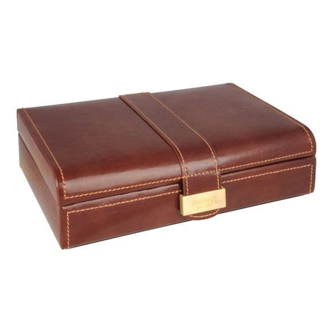 Heritage Premium Brown Leather 15 Piece Cufflink Box