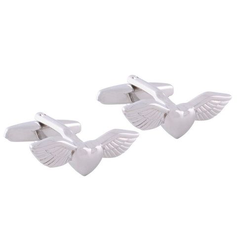 Silver Heart Wing Cufflinks