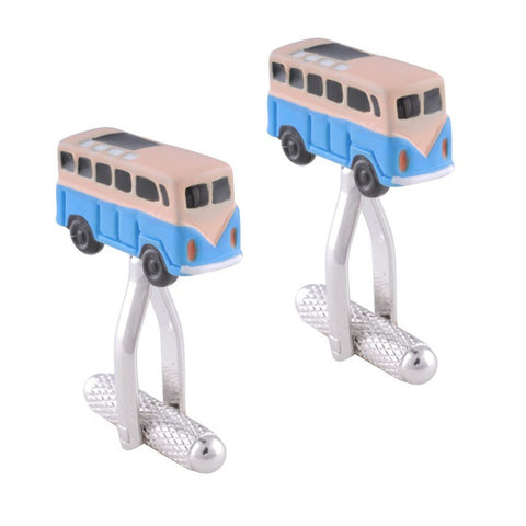 Blue and White VW style Campervan Cufflinks