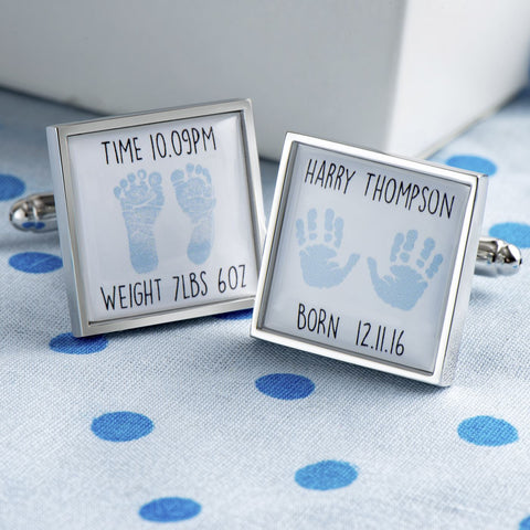 Personalised Newborn Cufflinks (Blue)