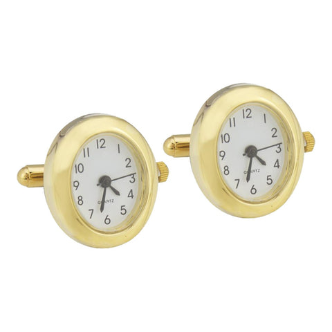 Gold Plated Oval Watch Cufflinks