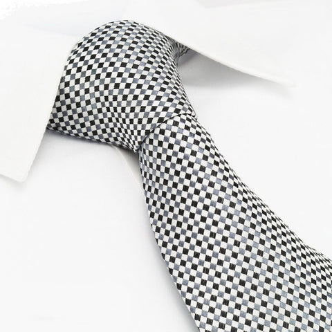 Black & Grey Diamond Gridded Silk Tie
