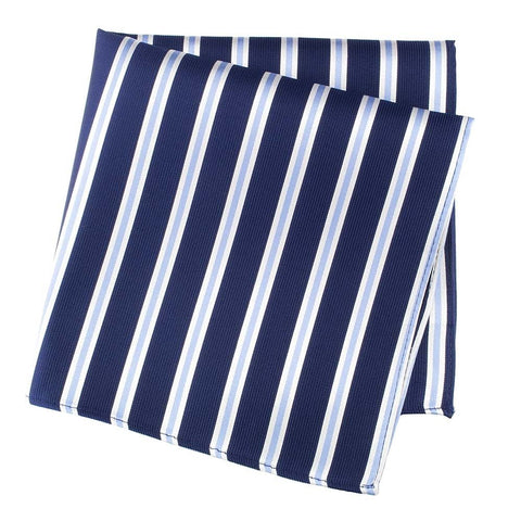 Navy With White And Blue Stripes Silk Handkerchief