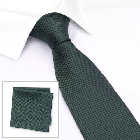 Dark Green Silk Plain Classic Textured Tie & Handkerchief Set