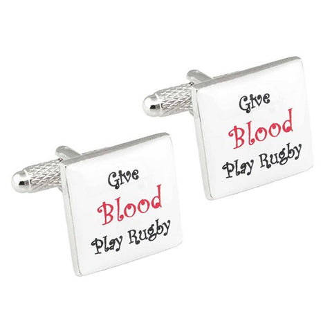 Give Blood Play Rugby Cufflinks