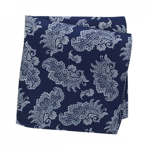 Blue Luxury Paisley Leaf Silk Handkerchief