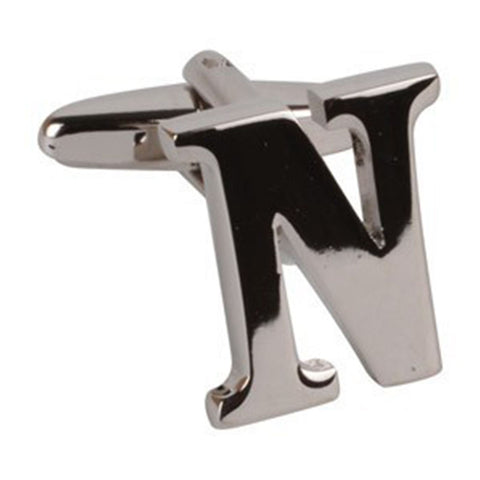 Letter N Initial Cufflink (Sold Individually)