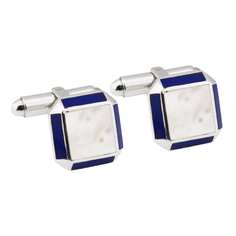 Sterling silver cufflinks with mother of pearl centre and lapis stone edges