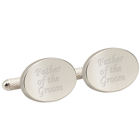 Engraved Silver Father of the Groom Cufflinks