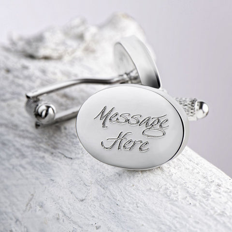 Engraved Cufflinks, Silver Plated Oval