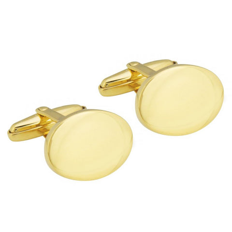 Gold Plated Sterling Silver Oval Cufflinks
