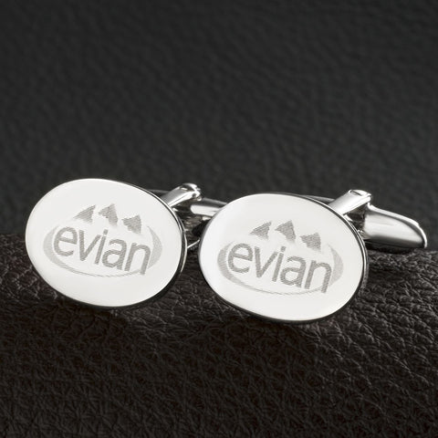 Sterling Silver Plated Logo Engraved Oval Cufflinks