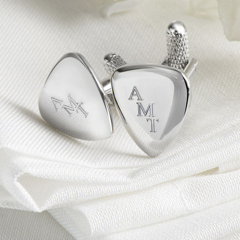 Engraved Guitar Plectrum Cufflinks