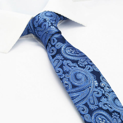 Blue Paisley Luxury Slim Silk Tie