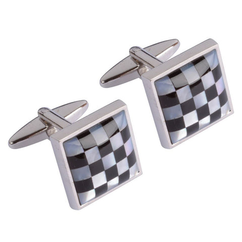 Mother of Pearl Chequered Squares Cufflinks
