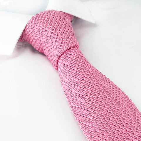 Pink Knitted Square Cut Tie