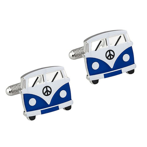 Blue Camper Van Cufflinks