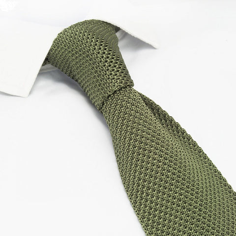 Olive Green Knitted Square Cut Silk Tie