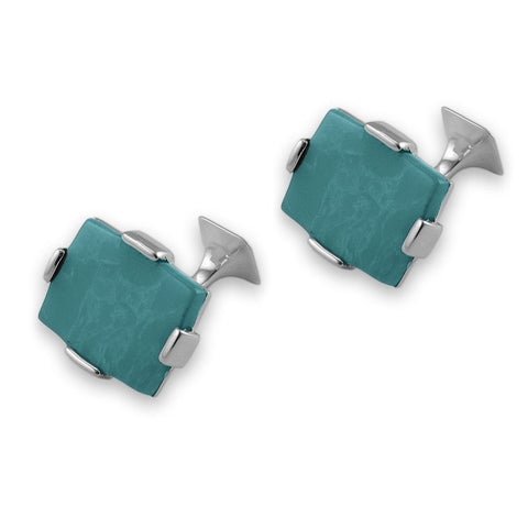 Sterling Silver Large Turquoise Rectangular Cufflinks