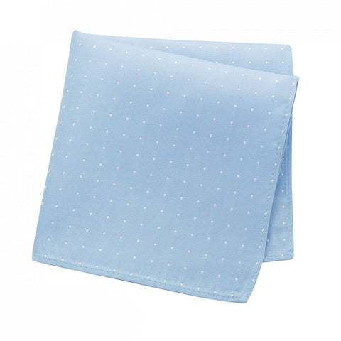 Pale Blue Polka Dot Silk Handkerchief