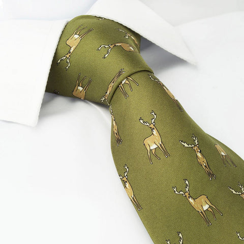 Green Stag Country Silk Tie
