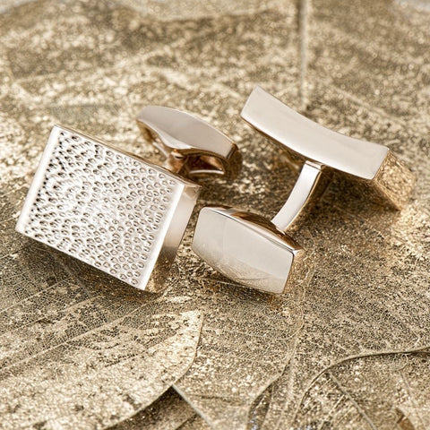 Chunky Rose Gold Ridged Cufflinks