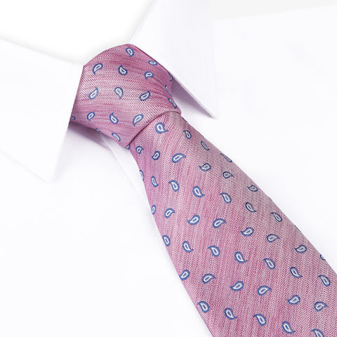 Pink Micro Paisley Woven Silk Tie