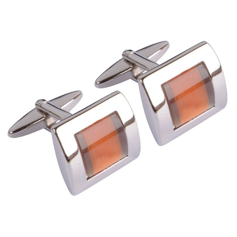 Orange centred squared Cufflinks