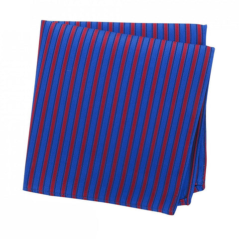Blue & Red Striped Woven Silk Handkerchief