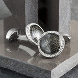 Black Textured Circle Cufflinks
