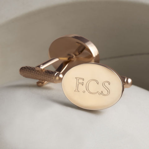 Rose Gold Plated Oval Engraved Initial Cufflinks