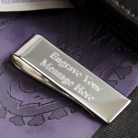 Engraved Sterling Silver Plated Money Clip