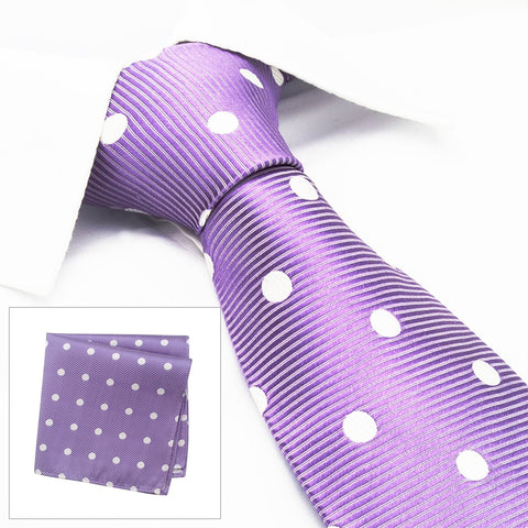 Lilac Silk Tie & Handkerchief Set With White Polka Dots