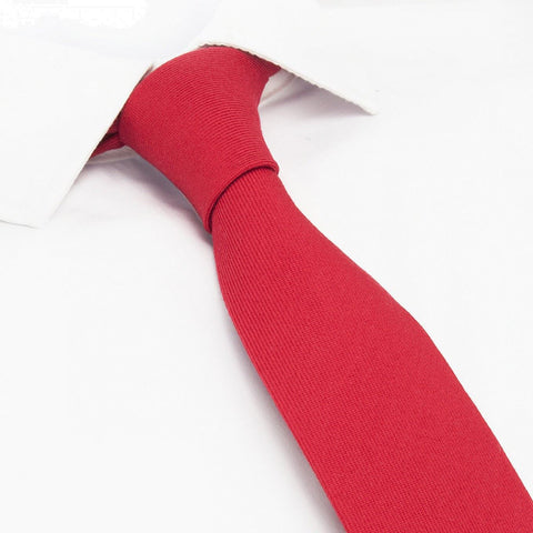 Plain Red Wool Mix Slim Tie