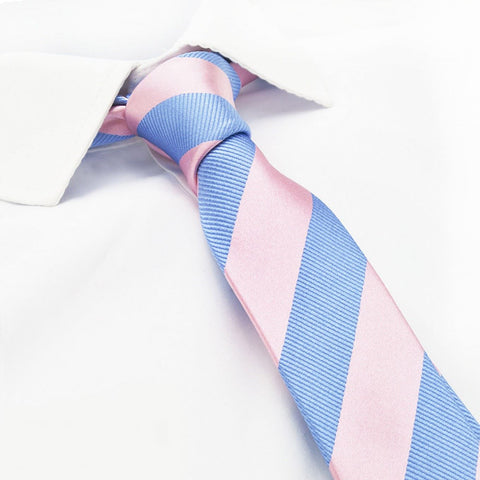 Pink & Blue Woven Striped Slim Silk Tie