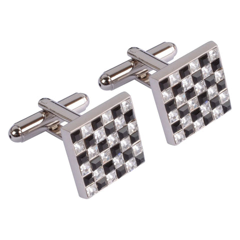 Black and Clear Multi Crystal Square Cufflinks
