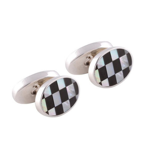 Sterling Silver Mother of Pearl & Onyx Double Sided Oval Cufflinks