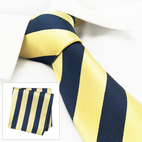 Gold & Navy Woven Striped Silk Tie & Handkerchief Set