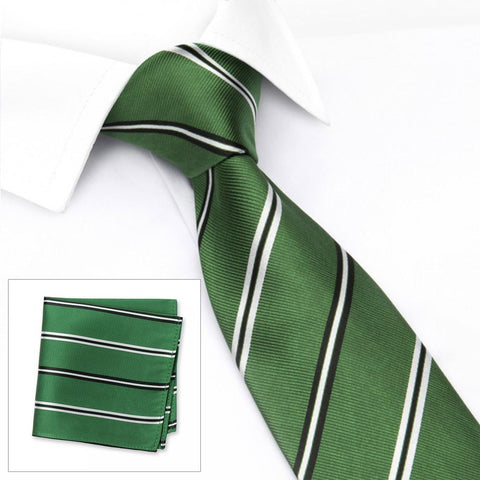 Emerald Green Classic Club Stripe Silk Tie & Handkerchief Set