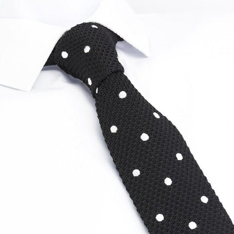 Black Polka Dot Knitted Square Cut Tie